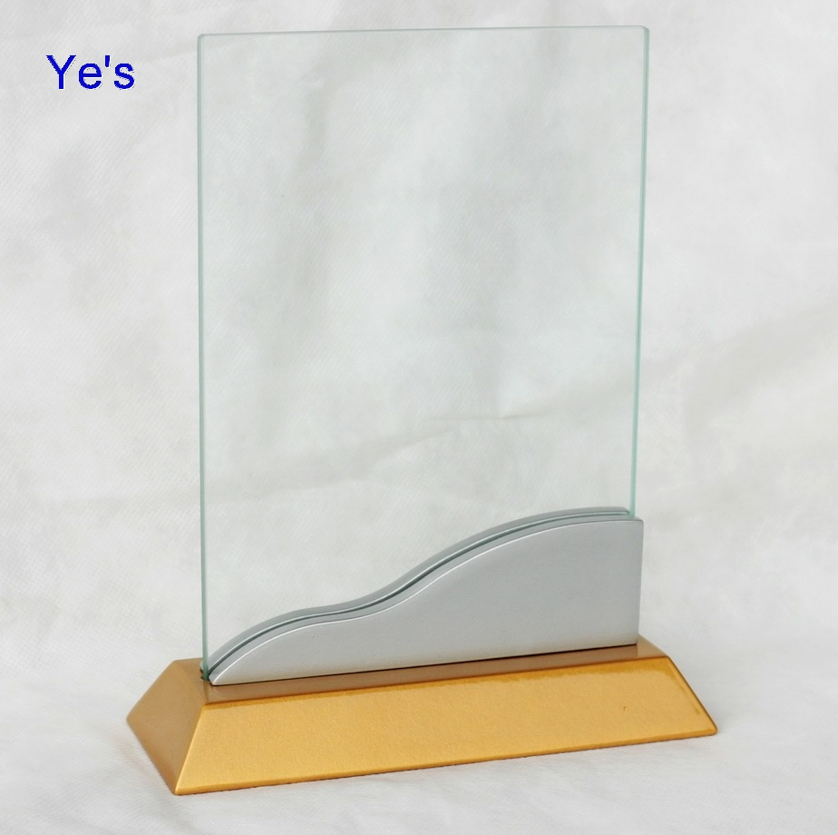 awards wood base with glass